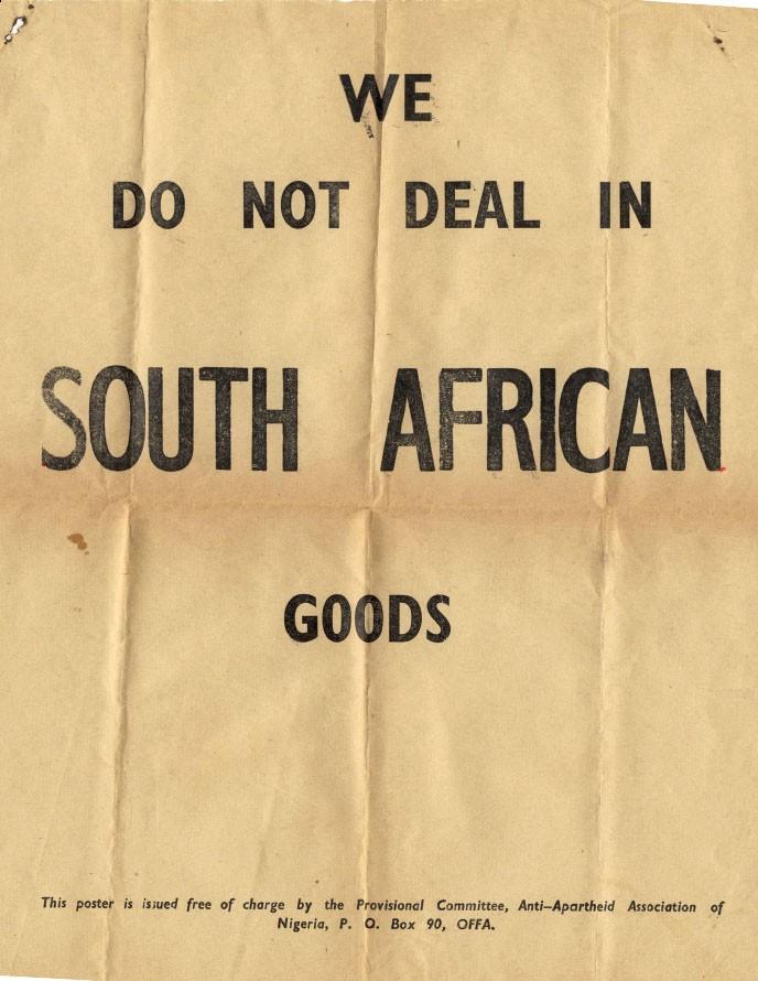 Nigerian Boycott of South African Goods poster